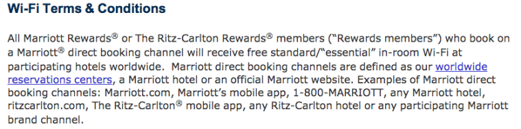 Marriott Terms & Conditions - WiFi only